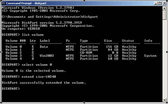 Resize Windows 2003 server partition with Diskpart.exe